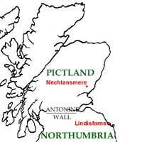 Map of north Britain, showing Nechtansmere and Lindisfarne
