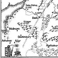 map of southeast England, with Alfred dreaming of the crown while the cakes burn in the margin
