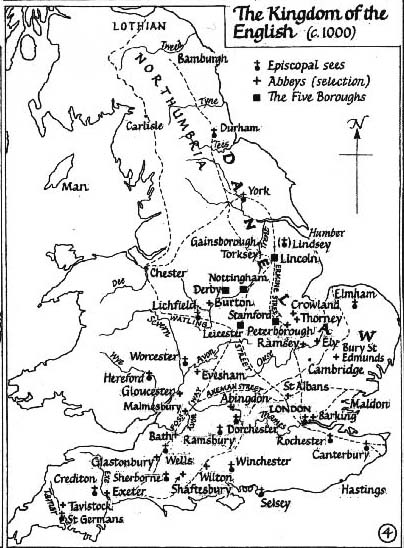 Map Of England 1000 Ad.Anglo Saxons Net The Kingdom Of The English C 1000